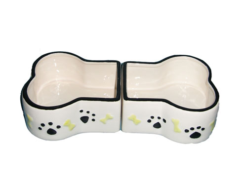 Ceramic bone shape dog bowl