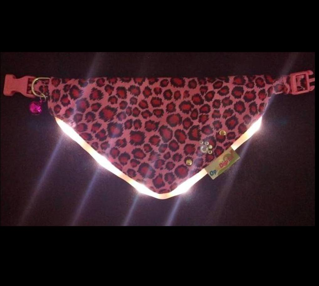 LED Flashing Bandanna -Leopard-Pink