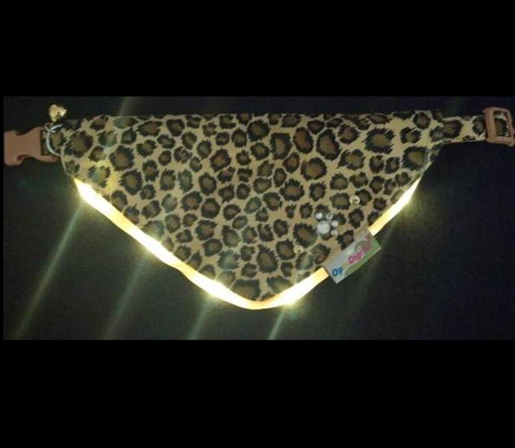 LED Flashing Bandanna -Leopard
