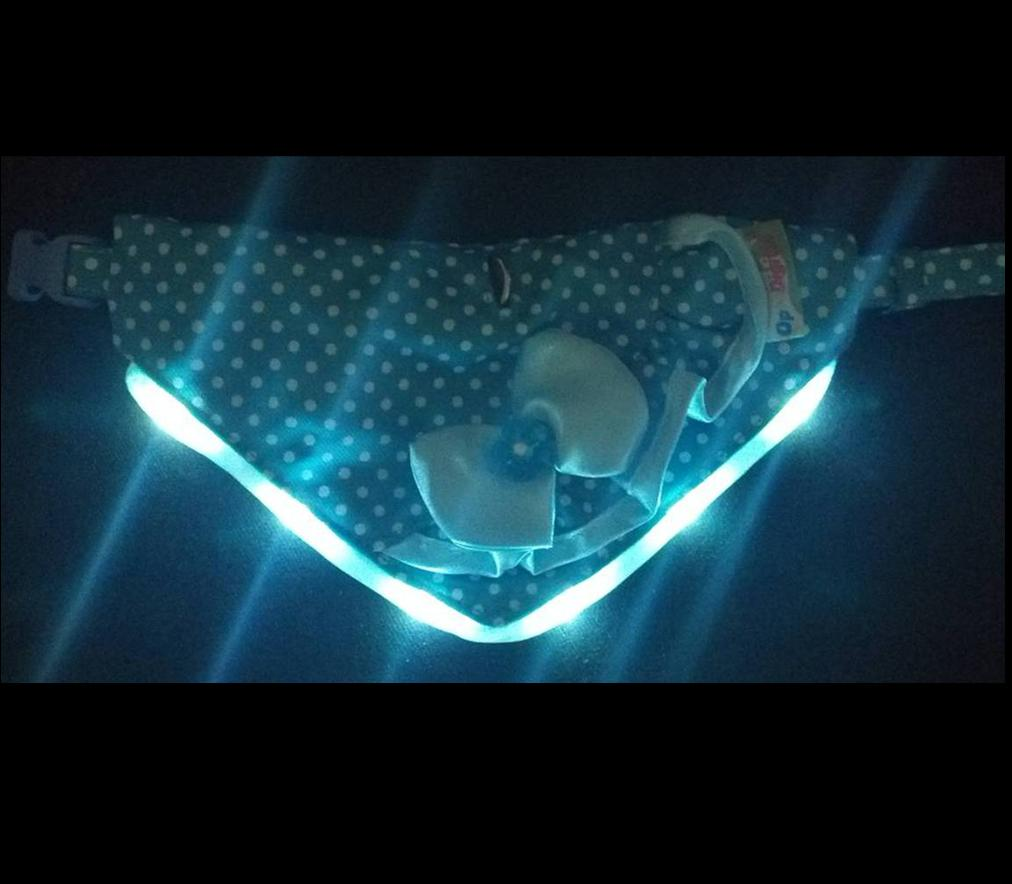 LED Flashing Bandanna -Polka-Blue