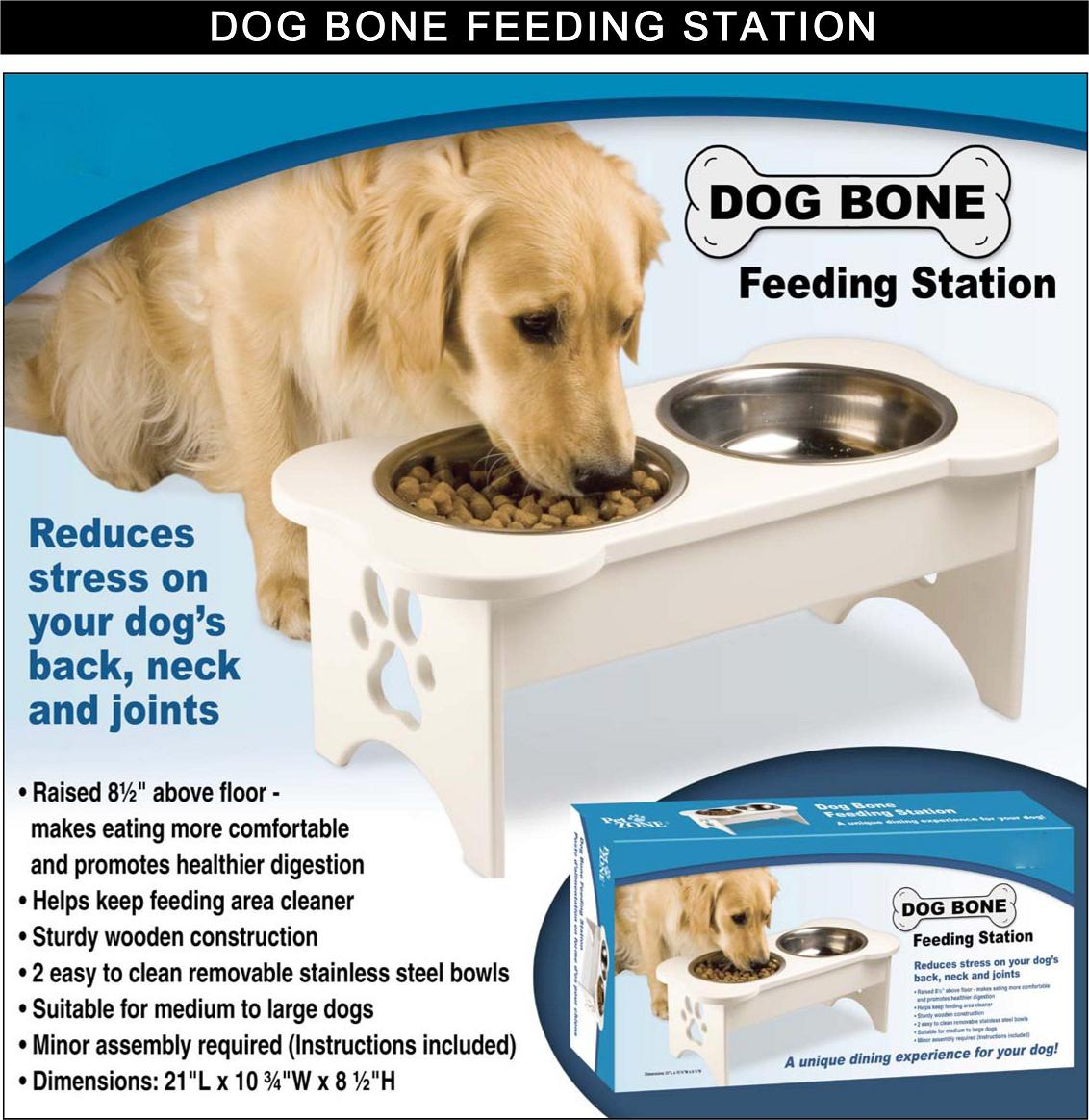 Dog bone feeding station bowls