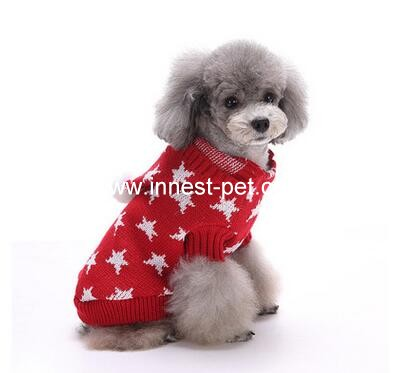 star pet dog sweater in red and cute design
